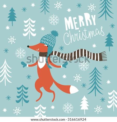 Greeting Christmas card  - stock vector