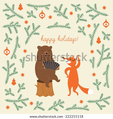 Greeting Christmas card, a bear and a cute fox - stock vector