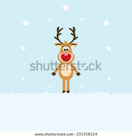 Greeting christmas card. Reindeer red nose with star background