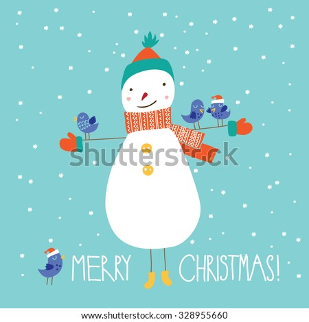 Greeting Christmas card with a cute snowman - stock vector