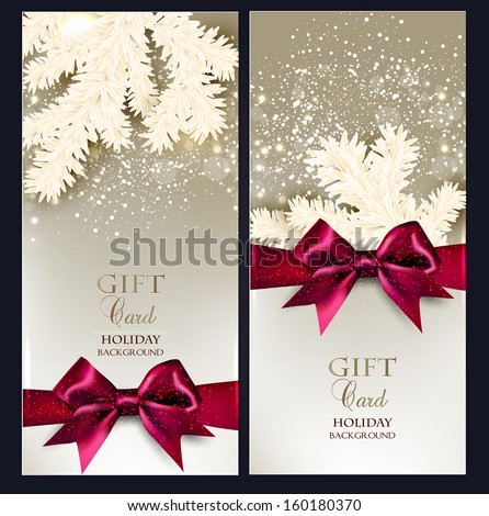 Greeting Christmas cards with bows and copy space. Vector illustration