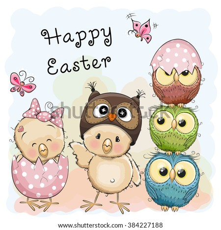 Greeting Easter card Two Chicks and Owls - stock vector