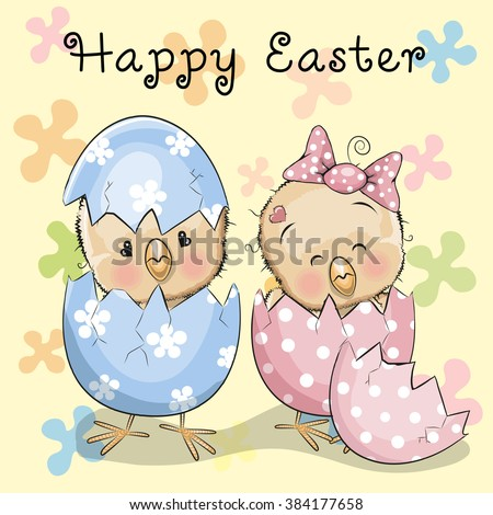 Greeting Easter card Two hatched chicks on a flowers background - stock vector