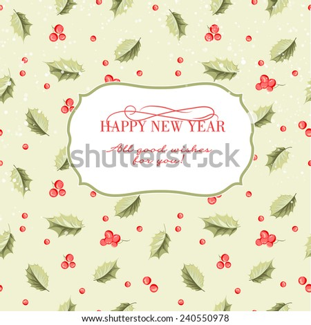 Greeting elegant card with Christmas decoration of mistletoe leaves and text frame. Vector illustration. - stock vector