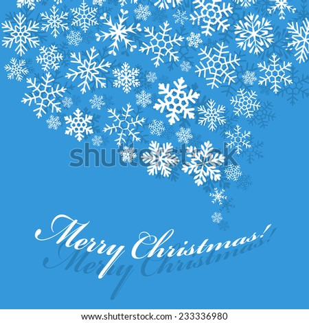 Greeting flat blue card with swirl carved from a variety of snowflakes and shadow. Merry Christmas! Happy New Year! - stock vector