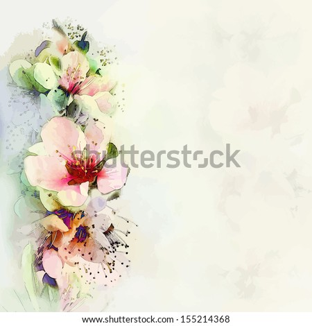 Greeting floral card with bright spring flowers on haze background in pastel colors - stock vector