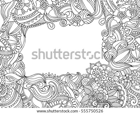 Greeting Invitation Card Template Adult Coloring Stock Vector