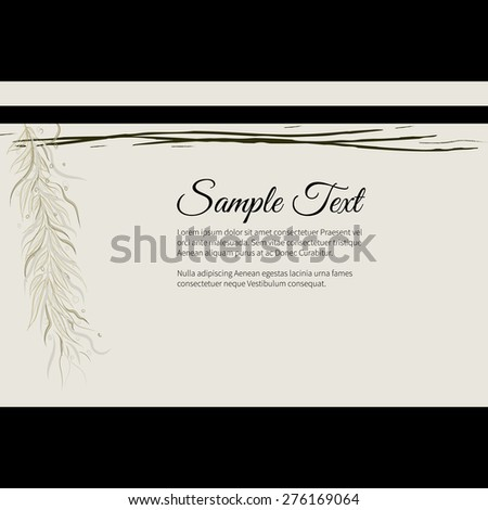 Greeting invitation card with elegant abstract floral motif, light design, place for text - stock vector