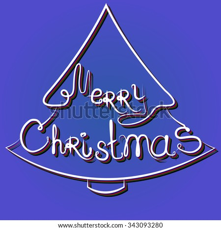 Greeting lettering of christmas, vector - stock vector