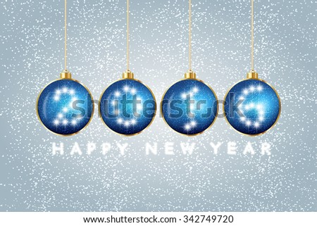 Greeting message text happy new year 2016. Creative stylish design. Vibrant white numbers. Winter (December, january). Decorations glamour party. Blur soft effect glare. Glow starry sky. Calendar.  - stock vector