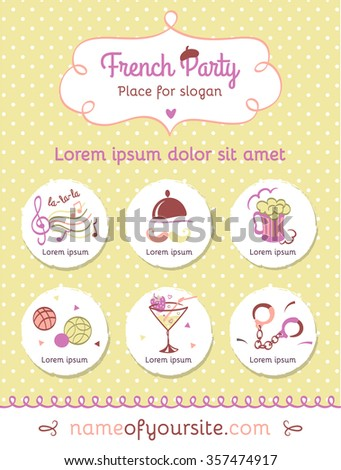 Greeting polka dot vertical banner with set of French symbol. French party invitation. Vector