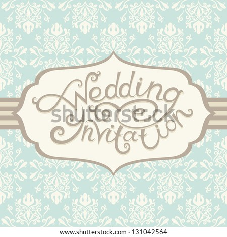 Greeting postcard in retro style. Vector wedding lettering - stock vector