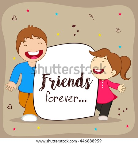 Greeting Poster Flyer Or Card For Happy Friendship Day With Cute Friends People