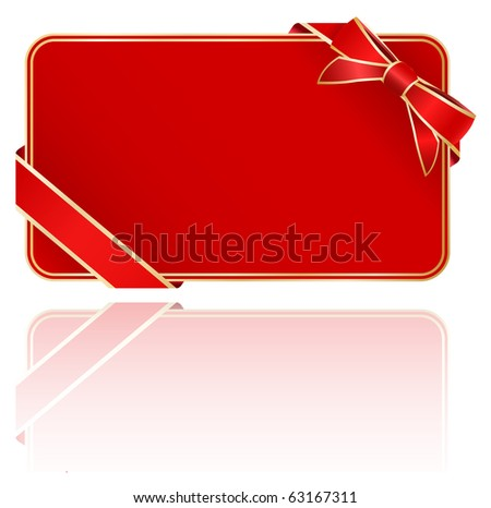 greeting red card with bow - stock vector