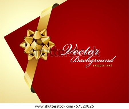 Greeting red corner card with gold bow vector background - stock vector