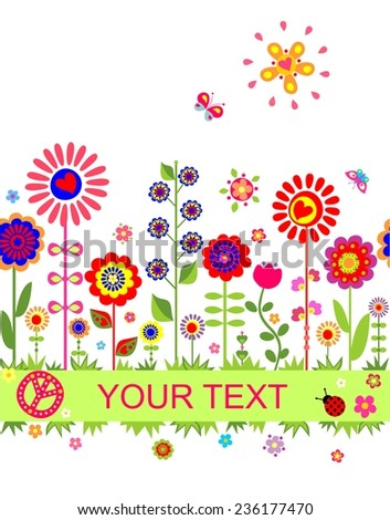 Greeting seamless border with funny abstract flowers - stock vector