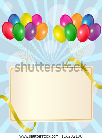 greeting sign with colorful balloons and golden ribbon - stock vector