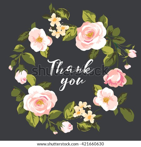 greeting thank you card,floral wreath - stock vector