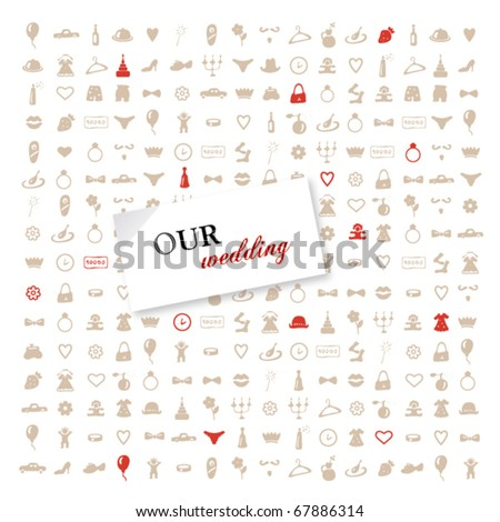 Greeting vector card with icons on a wedding theme - stock vector