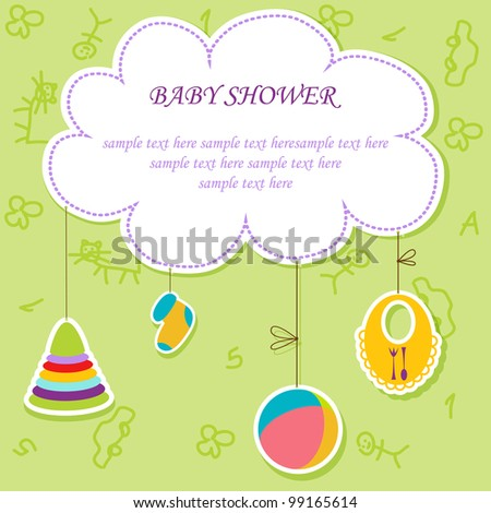 Greeting with a baby elements. Vector illustration. - stock vector