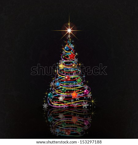 greeting with Christmas tree on black grunge background - stock vector