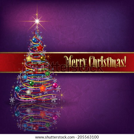 greeting with Christmas tree on purple grunge background - stock vector