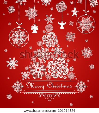 Greeting Xmas red card with paper snowflakes, fir and hanging toys - stock vector
