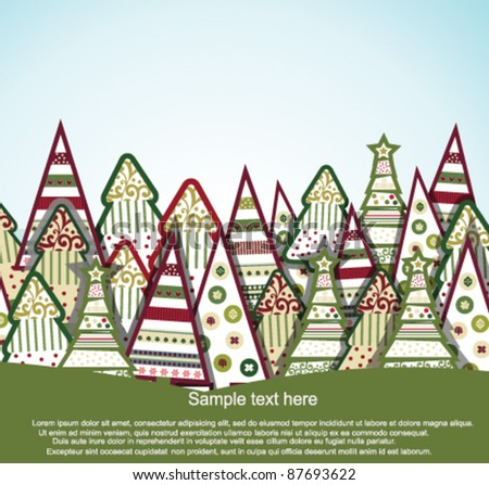 Greetings card with christmas tree - stock vector