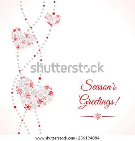 Greetings card with garland of hearts made of snowflakes. Winter holiday background - stock vector