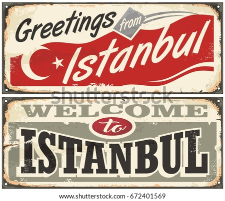 Greetings istanbul welcome istanbul retro metal stock photo photo greetings from istanbul welcome to istanbul retro metal souvenirs signs set from turkey m4hsunfo