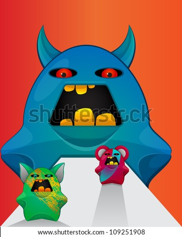 Gremlin Creatures, Monster Teddy Bears, vector illustration - stock vector