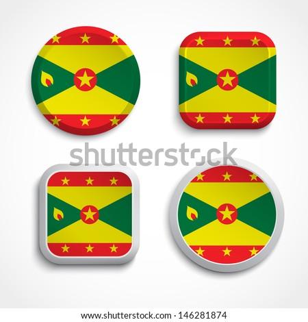 Grenada flag buttons set on the white background, vector illustration - stock vector