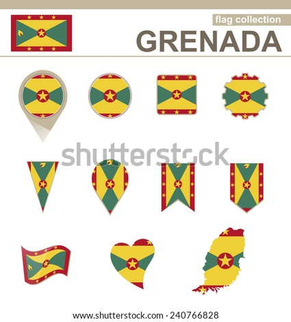 Grenada Flag Collection, 12 versions - stock vector
