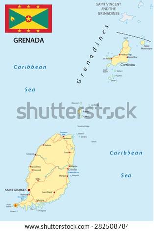 Balearic Islands Political Map Capital Palma Stock Vector - Road map of grenada island