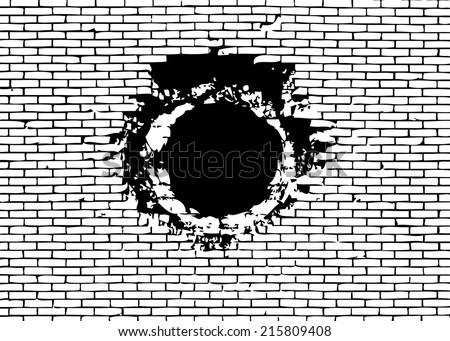 Grenade hole on brick wall vector illustration. - stock vector