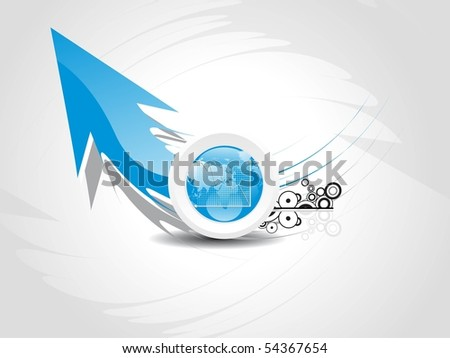 grey abstract background with arrow, business graph and circle