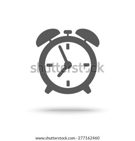 Grey alarm clock icon isolated - stock vector