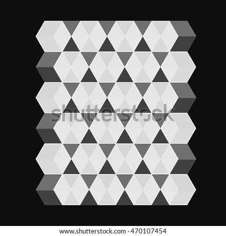 Grey and black square cube vector illustration