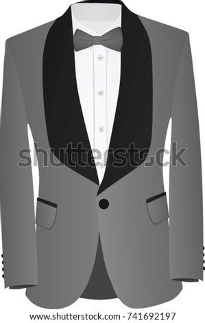 Grey and black suit with white shirt and grey bow tie. vector illustration