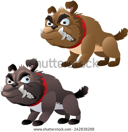 grey and brown bulldog grinned - stock vector