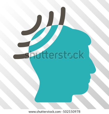 Grey And Cyan Radio Reception Head toolbar icon. Vector pictogram style is a flat bicolor symbol on diagonal hatch transparent background.