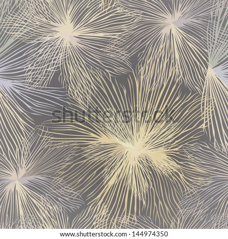 Grey and white seamless background with white and pink flowers. Vector Graphic. Flourish repeating pattern. - stock vector