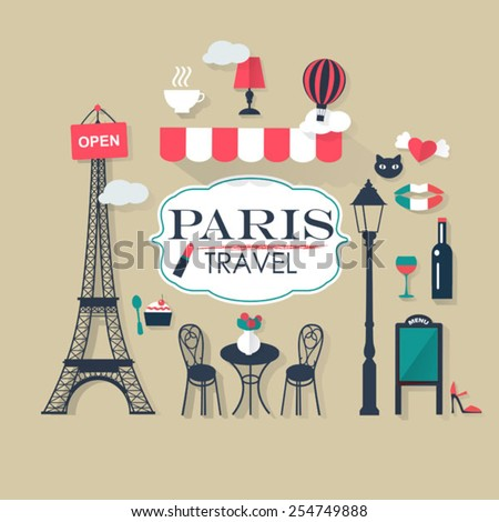 grey background Paris tourist concept image. Flat vector french  - stock vector
