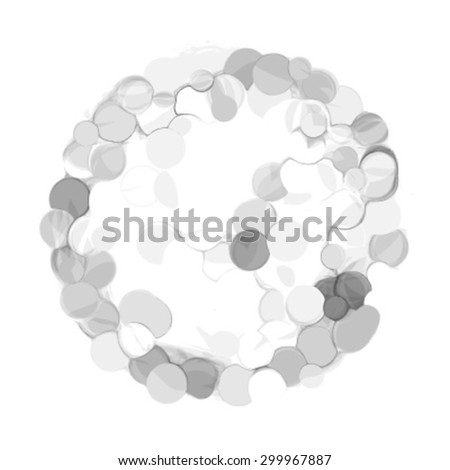 Grey background, particles, circle. Abstraction. Vector effect.