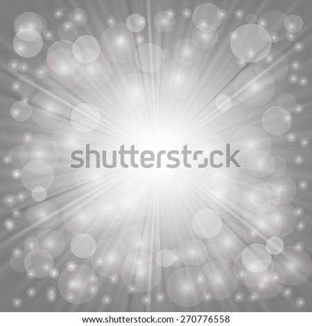 Grey Background. Sun Burst on Grey Background. Ray Background with Stars. - stock vector