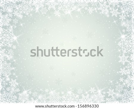 grey background with border of  snowflakes, vector illustration - stock vector