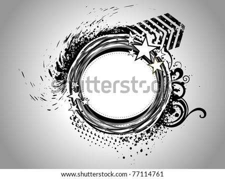 grey background with grungy abstract frame, illustration - stock vector