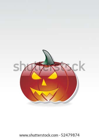 grey background with isolated glossy halloween pumpkin