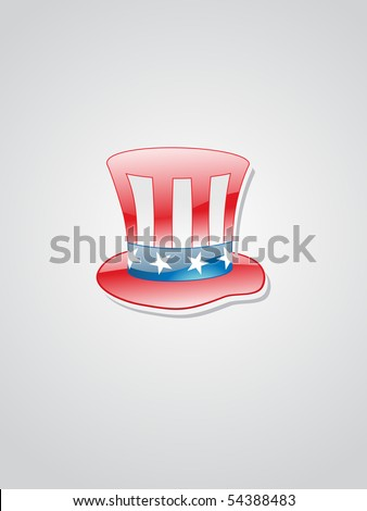 grey background with isolated hat in us flag color