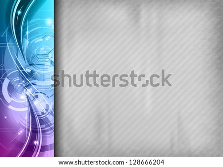grey background with purple abstract border on the left - stock vector
